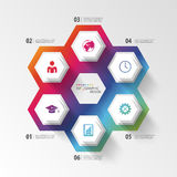 Colorful infographic with honeycomb structure. Vector Royalty Free Stock Photo