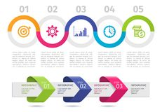 Colorful Infographic process chart and arrows with step up options. Vector. Colorful Infographic process chart and arrows with step up options. Vector Royalty Free Stock Images