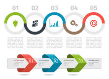 Colorful Infographic process chart and arrows with step up options. Vector. Stock Photography