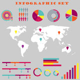 Colorful infographic set. Colorful infografic set with world map Royalty Free Illustration