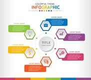 Colorful infographic template with 6 titles, Diagram with steps, Business and general data presentation with icons. vector illustration