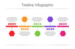 Colorful Infographic timeline report template with hexagon Stock Image