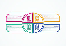 Colorful infographics options, four steps. Template for work flow or web design. Vector illustration Stock Photos