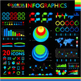 Colorful infographics set on black Stock Images