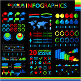 Colorful infographics set on black Royalty Free Stock Image