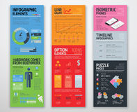 Colorful infographics in well arranged templates ready for use Royalty Free Stock Images