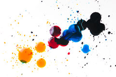 Colorful ink blot on white. Background royalty free stock image