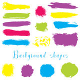 Colorful ink borders, brush strokes, stains, banners, blots, splatters. Stock Photos