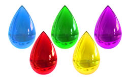 Colorful ink drops isolated white background Royalty Free Stock Image