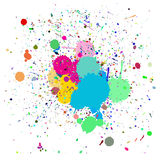 Colorful ink splash. Vector - Colorful ink splash drips on a canvas, for background use Royalty Free Stock Photo