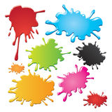 Colorful ink splashes. Set of colorful ink splashes or stains, isolated on white background Royalty Free Stock Image