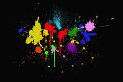 Colorful ink splashes. On black background stock illustration
