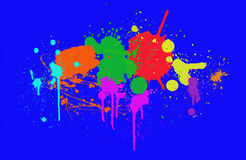 Colorful ink splashes. On blue background vector illustration