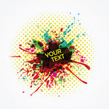 Colorful ink splashes with copyspace Stock Images