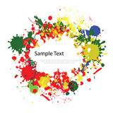 Colorful ink splashes on white. Background Stock Photography
