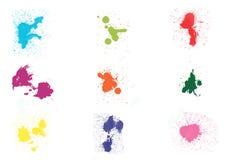 Colorful ink splashes. On white background stock illustration