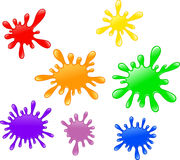 Colorful ink splatter isolated on white background Royalty Free Stock Images