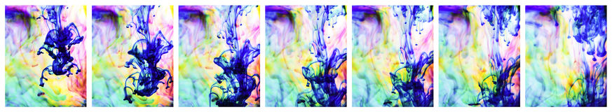 Colorful ink in water sequence Stock Photos