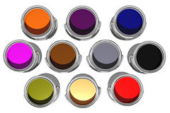 Colorful inks top view (3D) Royalty Free Stock Photos