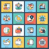 Banking And Finance Icon set. This  colorful and innovative pack is based on the theme of banking and finance. The elements in the set portray financial planning Royalty Free Stock Photos