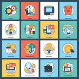 100 Banking And Finance Icon Pack. This  colorful and innovative pack is based on the theme of banking and finance. The elements in the set portray financial Stock Image