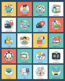 100 Finance And Banking Icons. This  colorful and innovative pack is based on the theme of banking and finance. The elements in the set portray financial Stock Photo