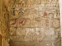 Colorful Inscriptions on Mortuary Temple of Ramesses III at Medinet Habu. The Mortuary Temple of Ramesses III at Medinet Habu is an important New Kingdom period royalty free stock image