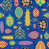 Colorful insects on a blue background seamless pattern. Tropical bugs, beetles, cockroaches, caterpillar, worms. For kids market, vector illustration