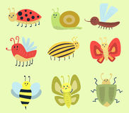 Colorful insects icons isolated wildlife wing detail summer worm caterpillar bugs wild vector illustration. Colorful insects icons isolated wildlife wing detail Stock Photography