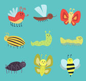 Colorful insects icons isolated wildlife wing detail summer worm caterpillar bugs wild vector illustration. Colorful insects icons isolated wildlife wing detail Royalty Free Stock Image