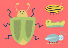 Colorful insects icons  wildlife wing detail summer worm caterpillar bugs wild vector illustration. Stock Images