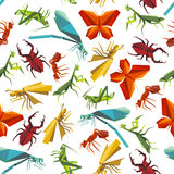 Colorful insects seamless pattern in origami style Royalty Free Stock Photos