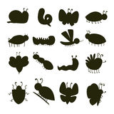 Colorful insects silhouette icons isolated wildlife wing detail caterpillar bugs wild vector illustration. Colorful insects silhouette icons isolated wildlife Royalty Free Stock Photography