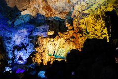 Colorful inside of Hang Sung Sot cave world heritage site. In Halong Bay, Vietnam stock photo