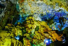 Colorful inside of Hang Sung Sot cave world heritage site. In Halong Bay, Vietnam stock images