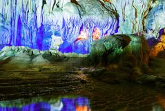 Colorful inside of Hang Sung Sot cave world heritage site. In Halong Bay, Vietnam royalty free stock image