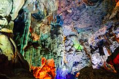Colorful inside of Hang Sung Sot cave world heritage site. In Halong Bay, Vietnam stock photography