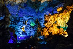 Colorful inside of Hang Sung Sot cave world heritage site. In Halong Bay, Vietnam royalty free stock photo