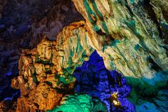 Colorful inside of Hang Sung Sot cave world heritage site. In Halong Bay, Vietnam stock image