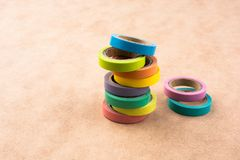 Colorful insulating adhesive tapes Royalty Free Stock Photo