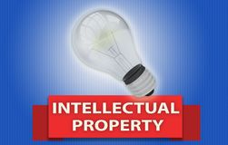 INTELLECTUAL PROPERTY concept with banner and light bulb. Colorful INTELLECTUAL PROPERTY concept with red text banner and 3d rendered domestic light bulb Stock Images
