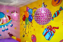 Colorful interior of the children`s room stock photography