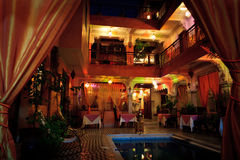 Colorful interior lights at night inside a riad stock photography