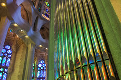 Colorful interior with organ of La Sagrada Familia Royalty Free Stock Photography