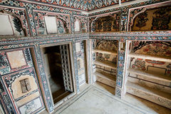 Colorful interior of the rooms of historical mansion Stock Images