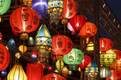Colorful international lanterns Stock Images