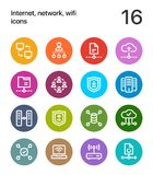 Colorful Internet, network, wifi icons for web and mobile design pack 3 Stock Photo