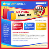 Colorful Internet Web Shopping Store template. A red, blue and yellow internet website store template for your business. There is a free shipping icon with Stock Photo