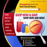 Colorful Internet Web Shopping Template. A red, blue, yellow and black internet website store template for your business. There are shopping bags in the header