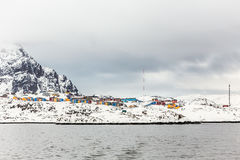 Colorful Inuit houses of Sisimiut city, view from the fjord, Gre Stock Photo